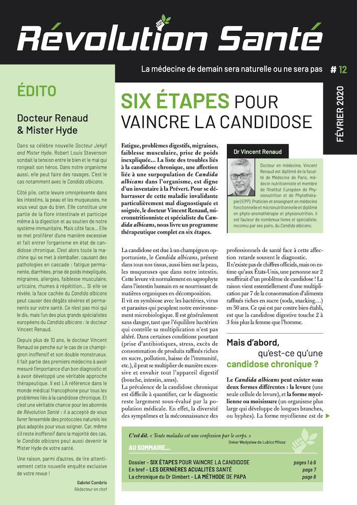 Publication du Dr Vincent Renaud dans le magazine Révolution Santé